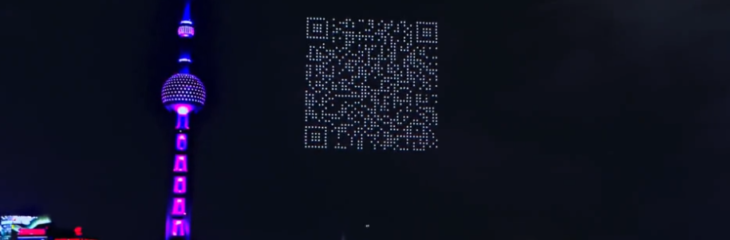 Drone light show in Shanghai forms a scannable QR code for video game